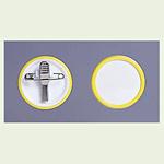 ネームバッジ 黄 用紙:Φ38mm 10個1組 (850-61)