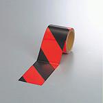 蛍光反射トラテープ (セパ付) 黒/赤 90mm幅×10m巻 (864-64)