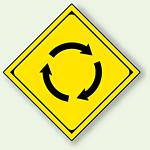 警告標識 ロータリーあり アルミ 一辺 450 (894-34)