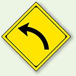 警告標識 左方屈曲あり アルミ 一辺 450 (894-35L)