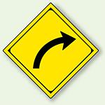 警告標識 右方屈曲あり アルミ 一辺 450 (894-35R)