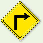 警告標識 右方屈折あり アルミ 一辺 450 (894-36R)