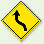 警告標識 左背向屈曲あり アルミ 一辺 450 (894-37L)