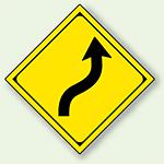 警告標識 右背向屈曲あり アルミ 一辺 450 (894-37R)