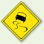 警告標識 スリップ注意 アルミ 一辺 450 (894-42)