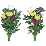 ご仏壇お供花 仏花2個セット (造花) 高さ45cm 光触媒 (106A30)