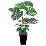 【送料無料】モンステラ&アンスリューム (人工観葉植物) 高さ95cm 光触媒 (203A120)