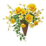 ナタリーローズ (壁掛タイプ) (造花) 高さ45cm 光触媒 (349A50)