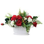 オーバルローズ (造花) 高さ24cm 光触媒 (469A60)
