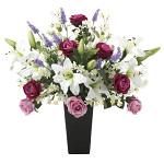 【送料無料】プレミアムカサブランカ (造花) 高さ68cm 光触媒 (664A200)
