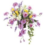 【送料無料】スイートラベンダー (壁掛タイプ) (造花) 高さ60cm 光触媒 (752A100)