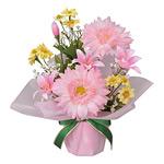 アレンジフラワー ガーベラ (ピンク) (造花) 高さ25cm 光触媒 (78A20)