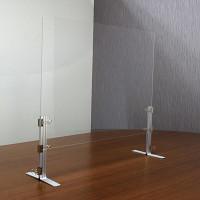 ストップ飛沫防止 支柱付きアクリル飛沫ガード 450×600 T型脚 (HB-A)