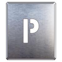 吹付け用アルファベットプレート 350×300 表示内容:P (349-30A)