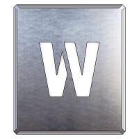 吹付け用アルファベットプレート 350×300 表示内容:W (349-37A)