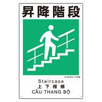 建災防統一標識(日・英・中・ベトナム 4ヶ国語)  昇降階段 (363-20A)