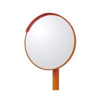 道路設置用カーブミラー アクリル製一面鏡 ミラー・ポールセット ミラーサイズ:φ600mm (384-21)
