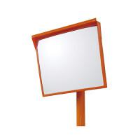 道路設置用角型カーブミラー アクリル製一面鏡 ミラー・ポールセット ミラーサイズ:500×600mm (384-28)