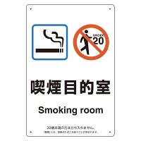 改正健康増進法対応 喫煙専用室 標識 喫煙目的室(Smoking room) ボード(W200×H300) (803-281)
