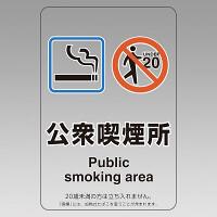 改正健康増進法対応 喫煙専用室 標識 公衆喫煙所 透明ステッカー(W100×H150) ※5枚1組 (807-84)