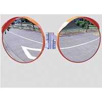 道路設置用カーブミラー ステンレス製二面鏡 ミラーのみ ミラーサイズ:φ800mm (869-24)