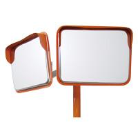 道路設置用角型カーブミラー ステンレス製二面鏡 ミラー・ポールセット ミラーサイズ:450×600mm (869-42)