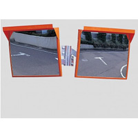 道路設置用角型カーブミラー ステンレス製二面鏡 ミラーのみ ミラーサイズ:450×600mm (869-44)