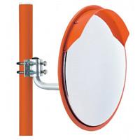 構内設置用カーブミラー 320mmミラー・34φポールセット (取付金具付) 仕様:一面鏡 (869-05)