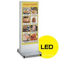LED式電飾スタンド看板 ADO-900N2E-LED-S シルバー 高さ1800mm