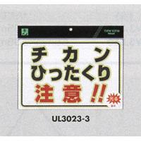 表示プレートH 蓄光プレート 300×200 表示:チカンひったくり注意!! (EUL30233)