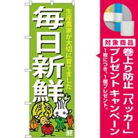 のぼり旗 毎日新鮮 下段に野菜のイラスト(SNB-4362) [プレゼント付]