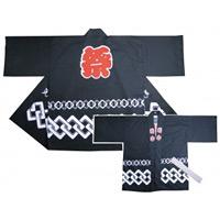 祭ハッピ 若中 帯付き 黒 サイズ:M (大人用) (3761)