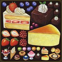 ショートケーキ・チーズケーキ フルーツ 看板・ボード用イラストシール (W285×H285mm)