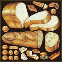 パン(食パン・フランスパン等)看板・ボード用イラストシール (W285×H285mm)