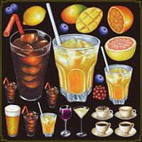 ドリンク(ジュース・アイスコーヒー等) 看板・ボード用イラストシール (W285×H285mm)