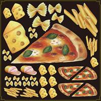 イタリアン(ピッツァ・チーズ) 看板・ボード用イラストシール (W285×H285mm)