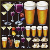 ワイングラス・ビールジョッキ 看板・ボード用イラストシール (W285×H285mm)