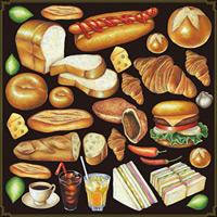 パン(1) 看板・ボード用イラストシール ハンバーガー サンドウィッチ(W285×H285mm)