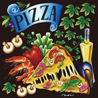 ピザ(1) 看板・ボード用イラストシール (W285×H285mm)