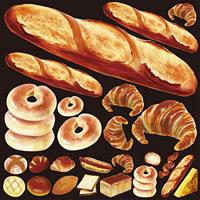 パン(2) 看板・ボード用イラストシール フランスパン(W285×H285mm)