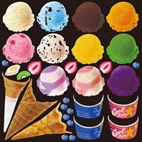 アイス(1) 看板・ボード用イラストシール (W285×H285mm)
