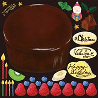 ケーキ(4) 看板・ボード用イラストシール (W285×H285mm)