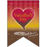 バレンタイン (ハートイラスト) リボン型 ミニフラッグ(遮光・両面印刷) (60998)