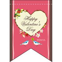 バレンタイン (ピンクベース・ハート) リボン型 ミニフラッグ(遮光・両面印刷) (61000)