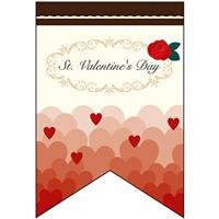 バレンタイン (ハートグラデーション調) リボン型 ミニフラッグ(遮光・両面印刷) (61001)