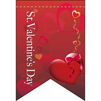 バレンタイン (レッドベース) リボン型 ミニフラッグ(遮光・両面印刷) (61005)
