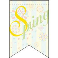 スプリング (パステル) リボン型 ミニフラッグ(遮光・両面印刷) (61016)