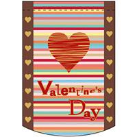 バレンタインデー (ポップ調) アーチ型 ミニフラッグ(遮光・両面印刷) (61029)