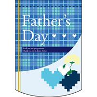 Fathers Day (チェック柄) アーチ型 ミニフラッグ(遮光・両面印刷) (61042)