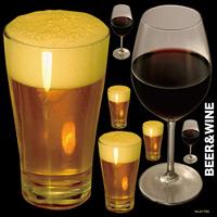 ビールと赤ワイン 看板・ボード用イラストシール (W285×H285mm)